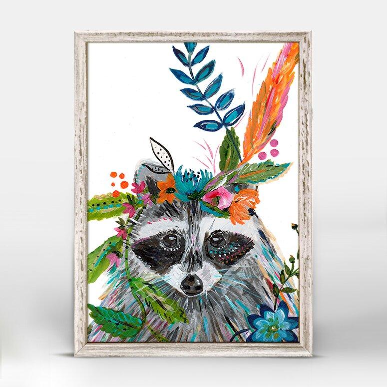 Trinx Casey Boho Raccoon Mini Framed Art Wayfair