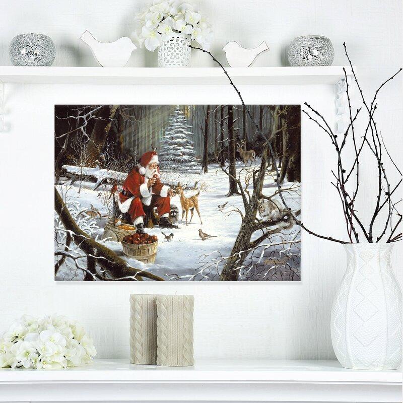 East Urban Home Santa Claus With Deer In Snowy Woods Painting