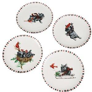 4 piece dog cardinal decorative plate set