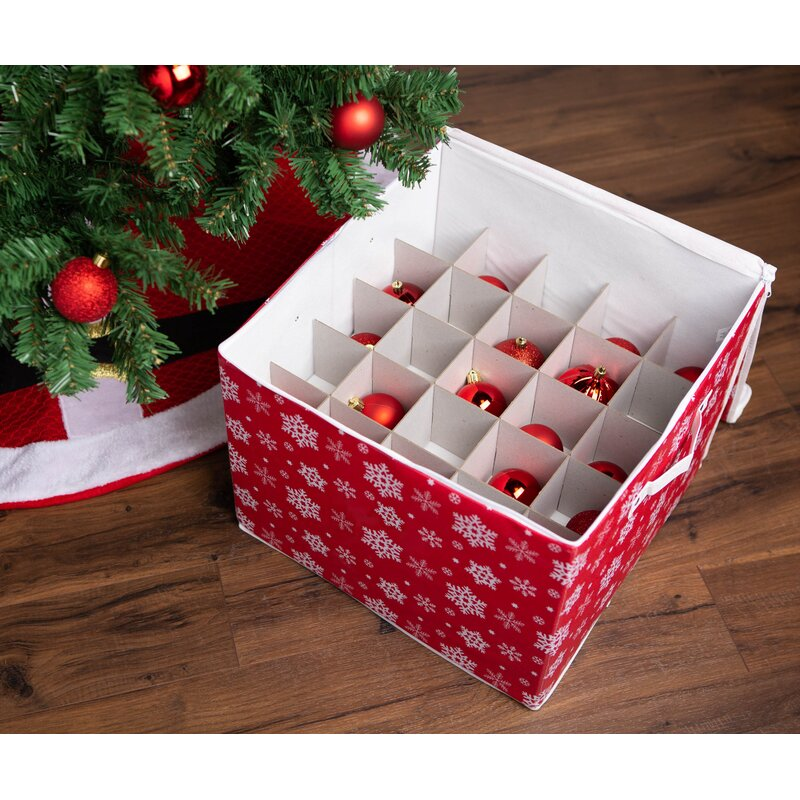 Durable Non-Woven Polypropylene Christmas Ornament Storage Box with Zippered Cover Adjustable /& Convenient Organizing Solutions for your Cherished Decorations Stores up to 64 Holiday Tree Ornaments