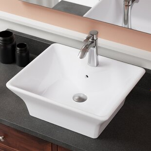 Online Reviews Vitreous China Rectangular Vessel Bathroom Sink with Overflow ByMR Direct