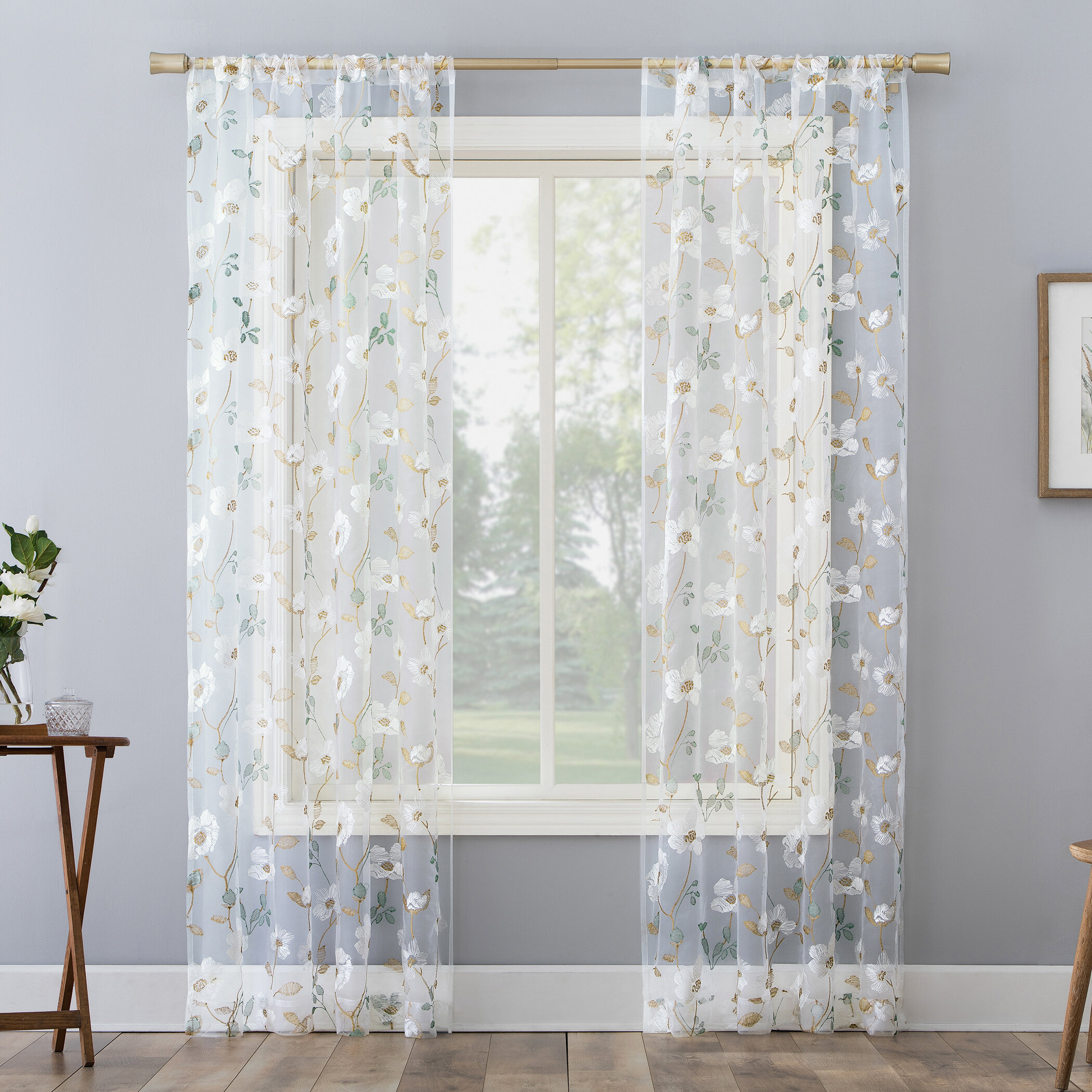Laurel Foundry Modern Farmhouse Lucie Embroidered Cottage Floral Sheer Rod Pocket Single Curtain Panel Reviews Wayfair