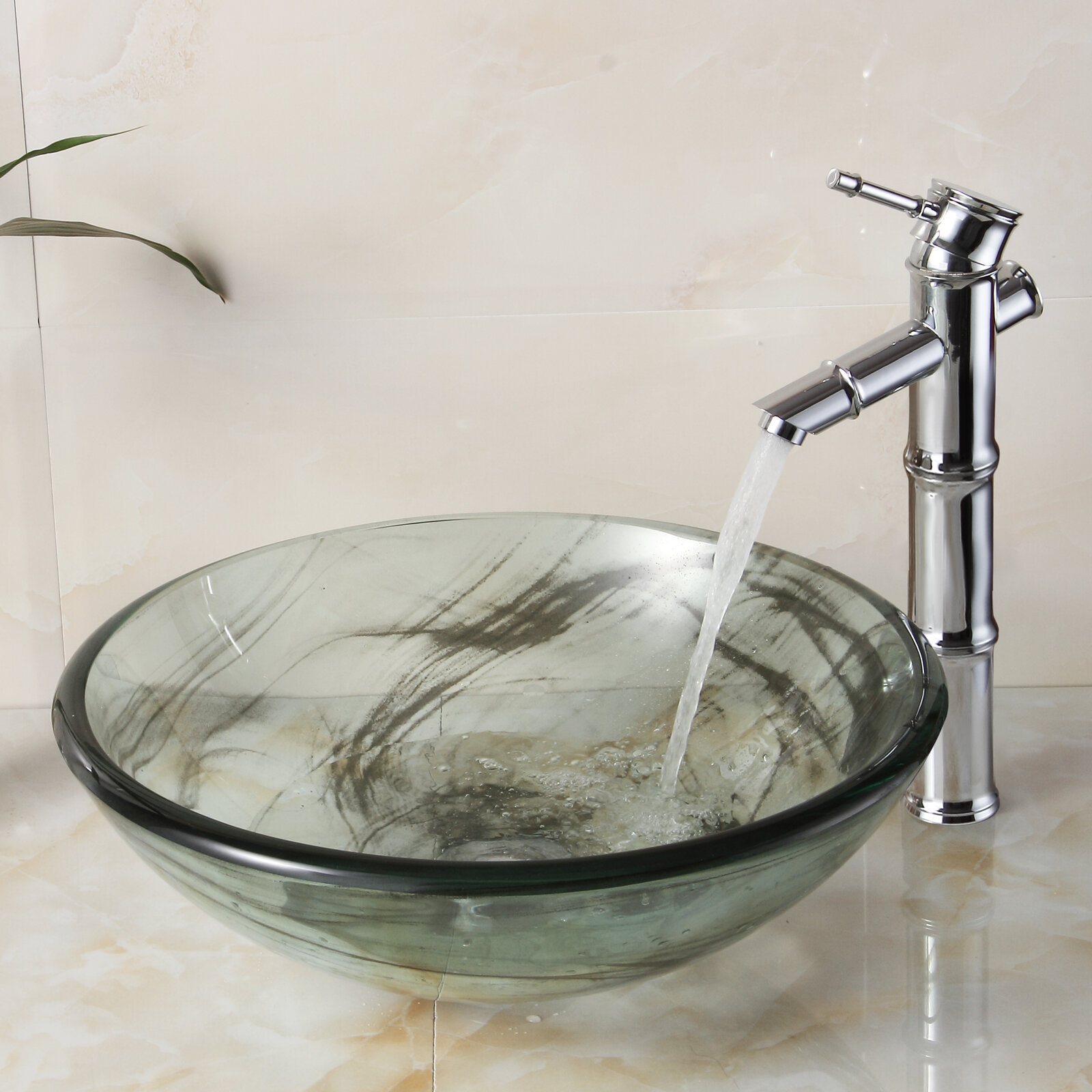 Amazing Double Layered Tempered Glass Circular Vessel Bathroom Sink Interior Design Ideas Clesiryabchikinfo