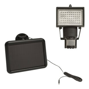 Symple Stuff Joyal Bright Twin Head LED Solar Power Outdoor Security Floodlight with Motion Sensor