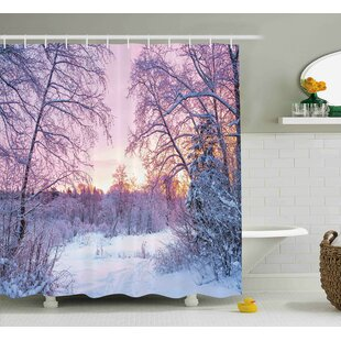 Order Stacy Landscape Winter Season Themed Dried Abandoned Braches Snowy Sunset Scenery Image Shower Curtain ByEbern Designs