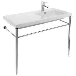 Savings Condal Ceramic 40 Console Bathroom Sink with Overflow ByCeramica Tecla by Nameeks