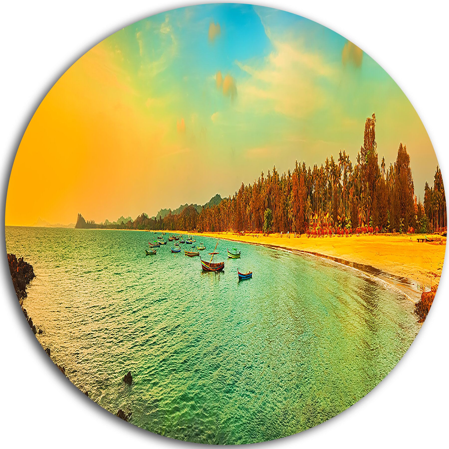 DesignArt \'Blue Tinged Indian Ocean Panorama\' Photographic Print on ...