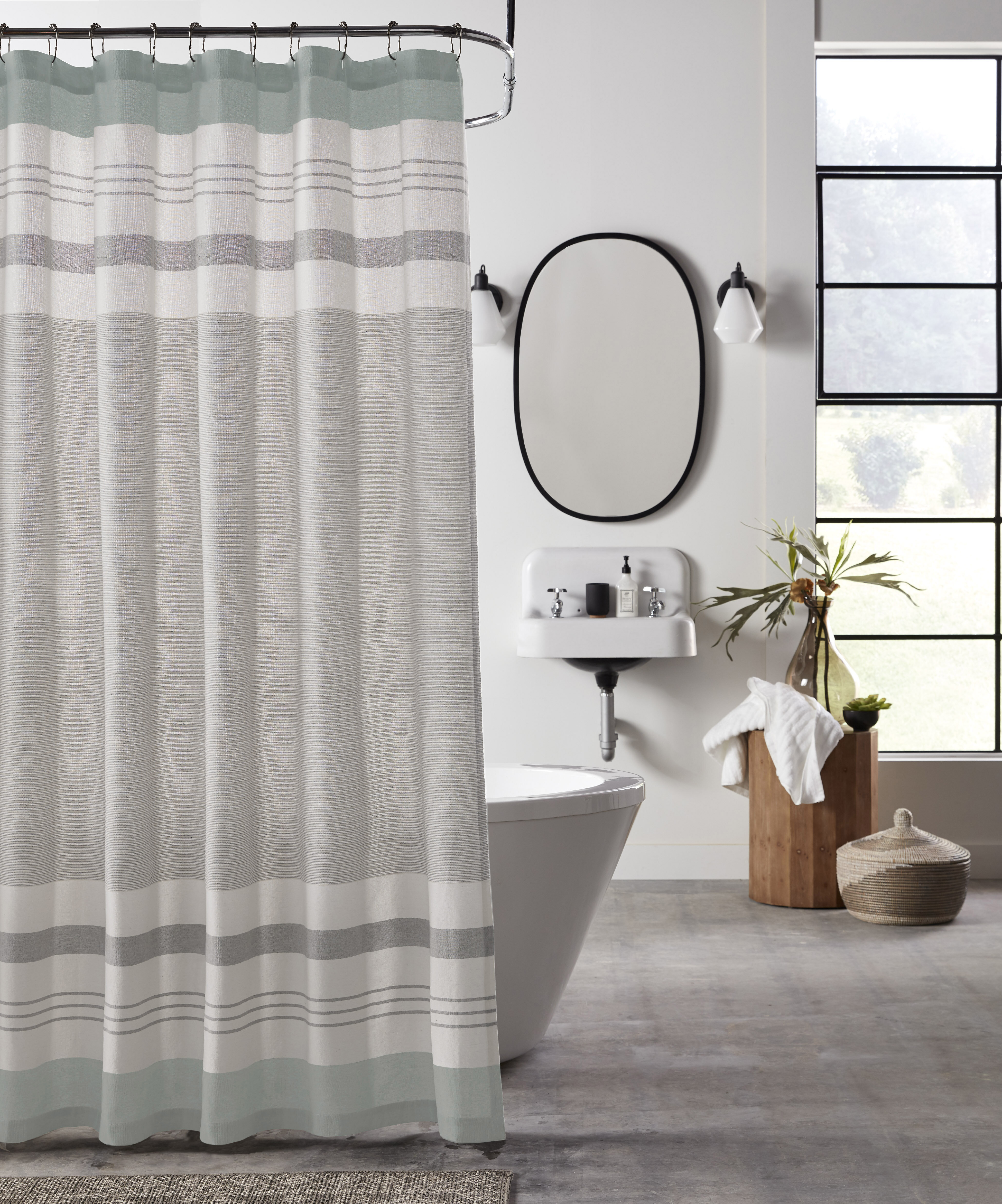 Charlton Home Whalley Striped Single Shower Curtain Reviews Wayfair