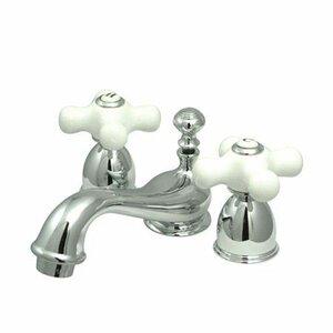 Mini Widespread Bathroom Faucet with Double Porcelain Cross Handles