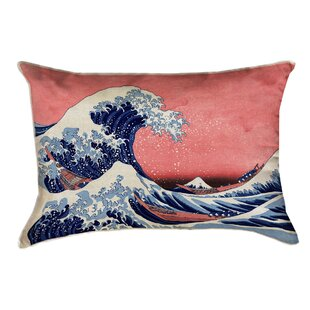 'Raritan The Great Wave Leather Lumbar Pillow