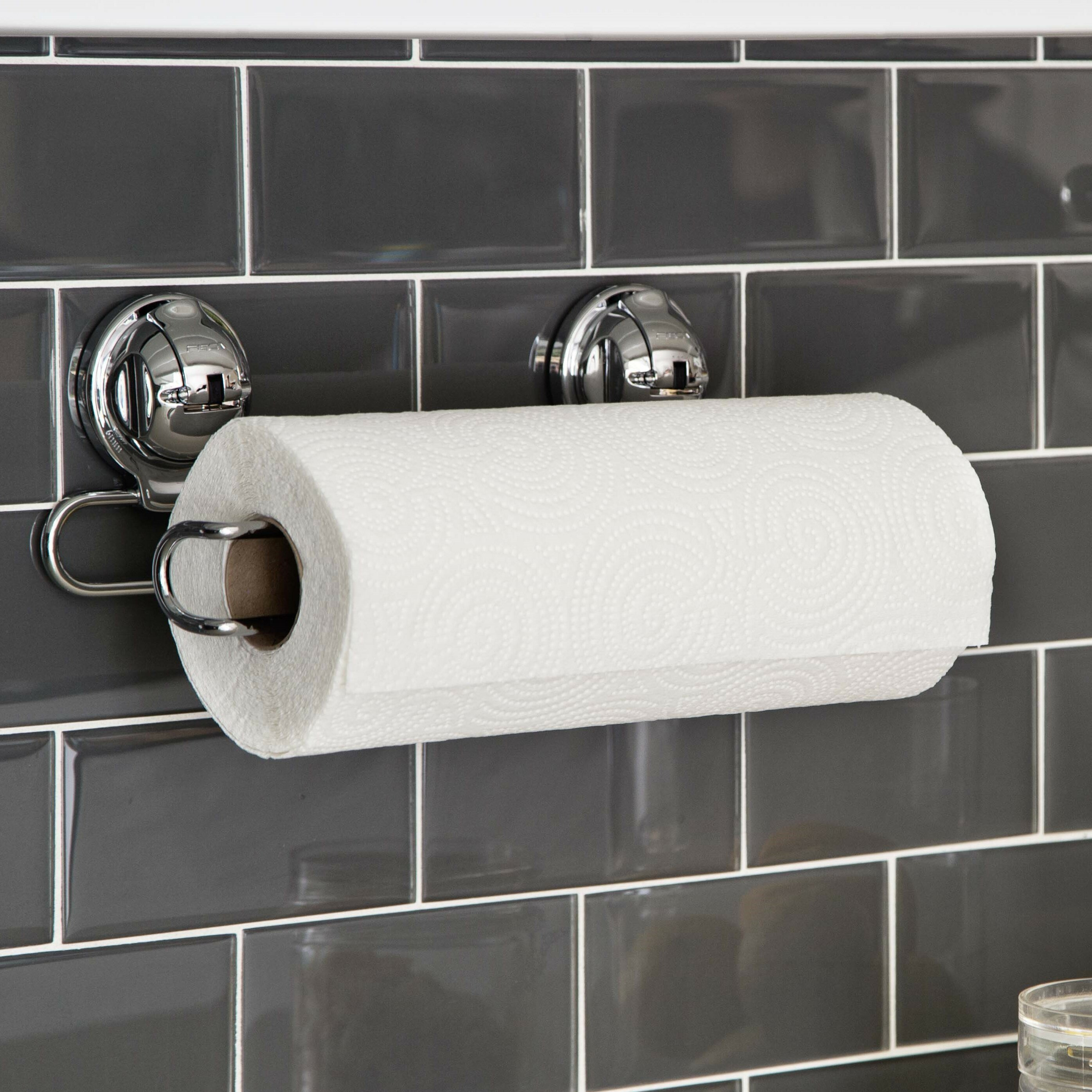 Stainless Steel Wall Mount Paper Towel Holder With Ful Suction Cup