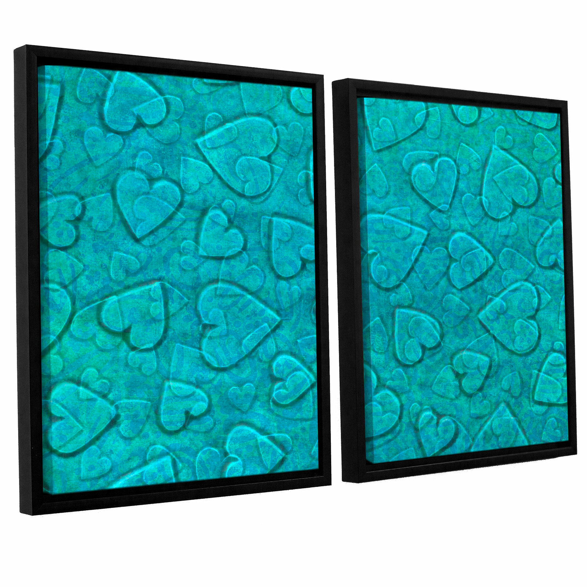 Zoomie Kids Large Heart Mixed Pattern 2 Piece Framed Graphic Art On Canvas Set In Mint Wayfair