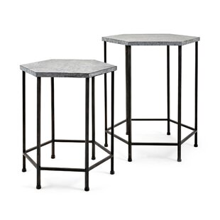 Baumgarten 2 Piece Galvanized End Table Set