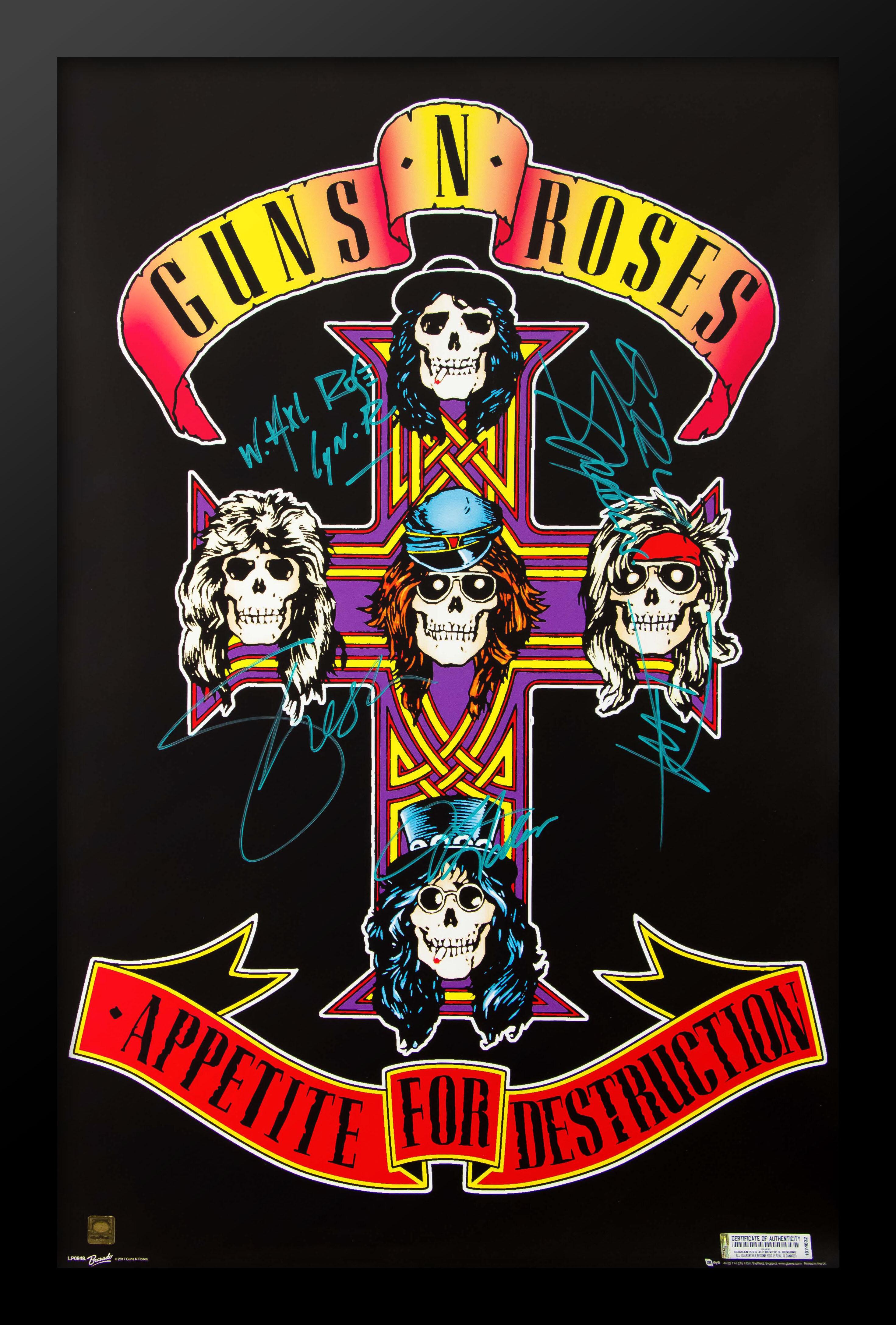 Appetite for Destruction Lyrics Gift Signed Art Guns N Roses Poster Print
