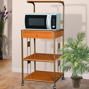 Microwave Cart with Wood Top I by Hazelwood Home