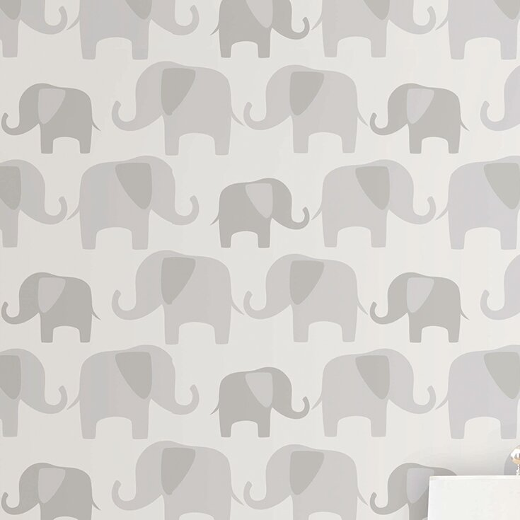 World Menagerie Benn Gray Elephant Parade Peel And Stick Wallpaper Roll Reviews Wayfair