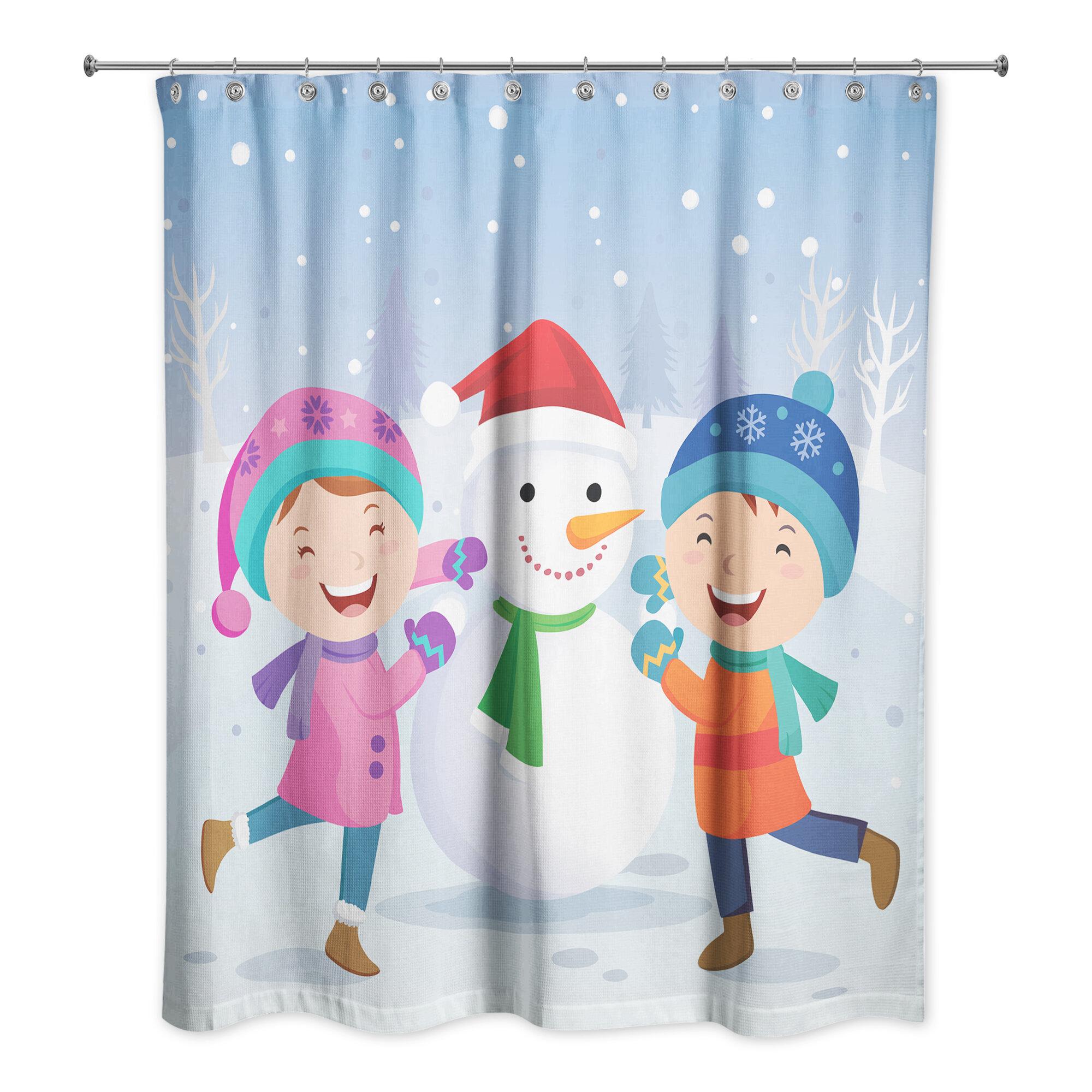 The Holiday Aisle Grandy Children Snowman Scene Single Shower Curtain Wayfair