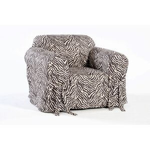 Zebra Print Box Cushion Armchair Slipcover