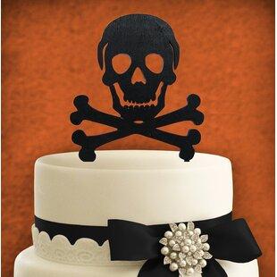 Skull Painted Cake Topper Wooden Cake Topper