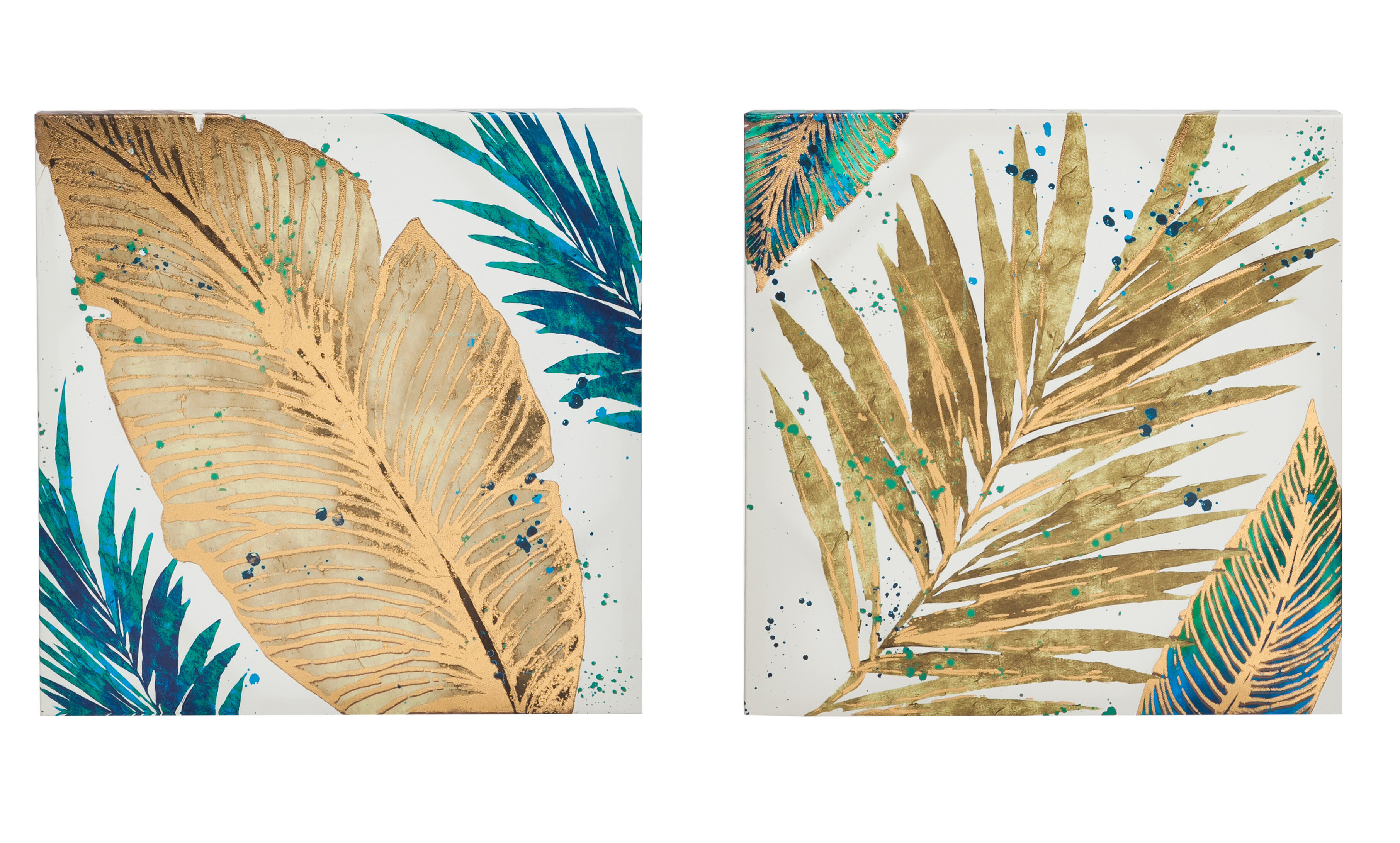 Mercer41 Foil Palm Leaves Painting Print on Canvas in Gold   Wayfair