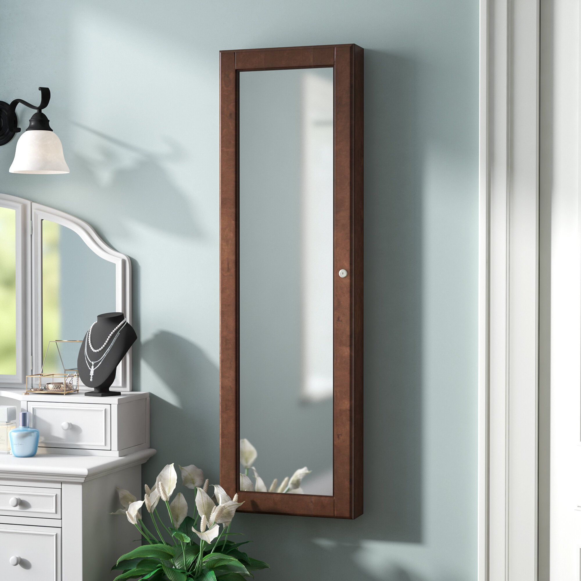 Image of: Three Posts Teen Maysville Wall Mounted Jewelry Armoire With Mirror Reviews Wayfair