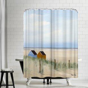 Hans Paus Beach Huts Single Shower Curtain