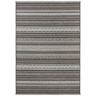 Rodez Flatweave Black/Brown Indoor/Outdoor Rug by Elle Decor