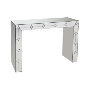 Donatella Front Mirrored Rectangular Sled Console Table