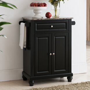 Leonard Kitchen Cart with Faux Marble Top Alcott Hill