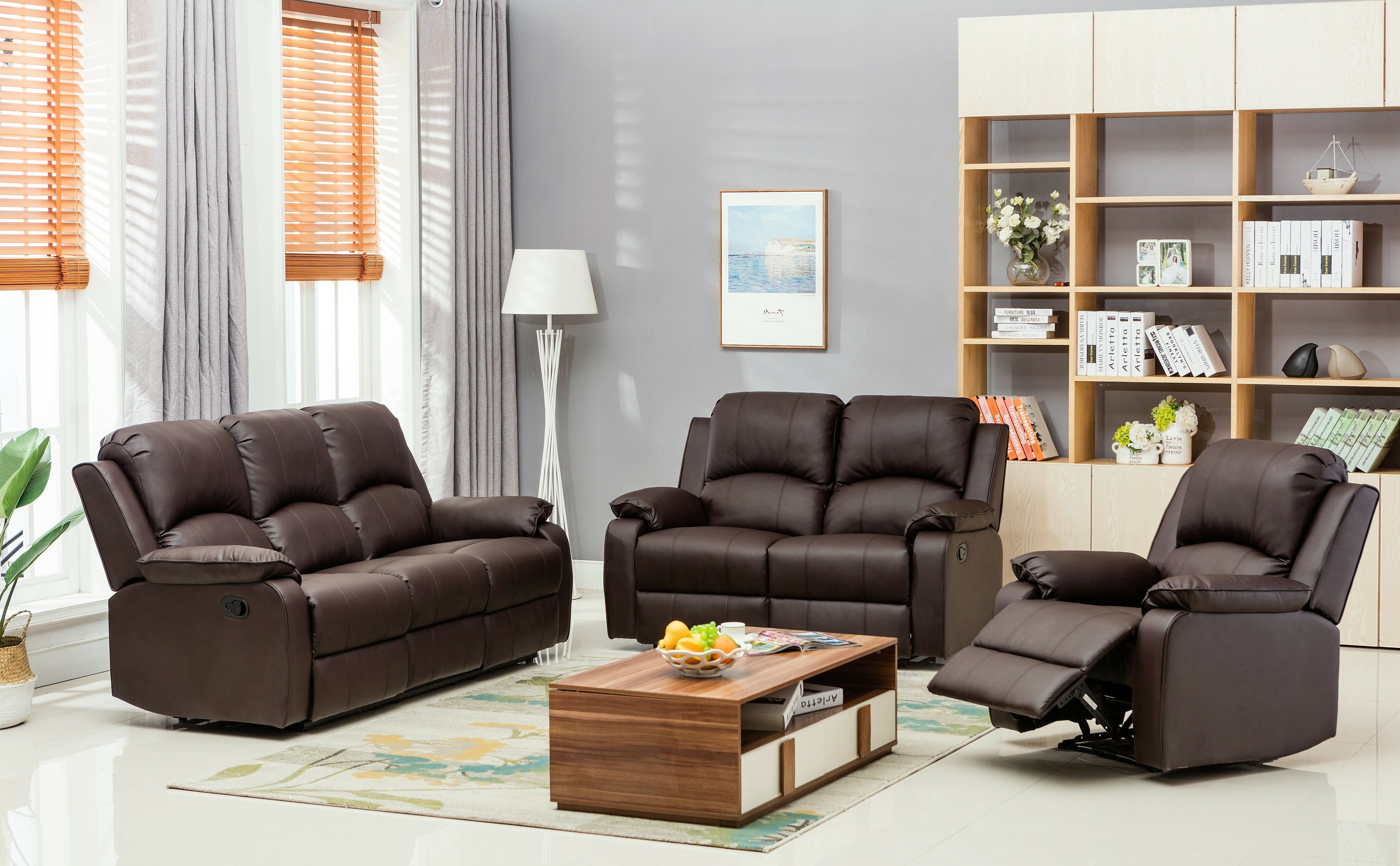 Willian Reclining 6 Piece Leather Reclining Living Room Set