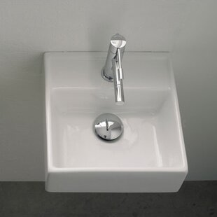 Buying Teorema Ceramic 12 Wall Mount Bathroom Sink with Overflow ByScarabeo by Nameeks