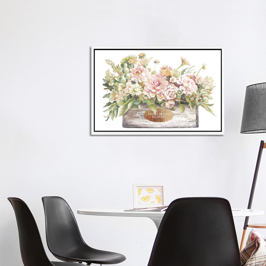 Flowers In Wooden Planter by Patricia Pinto - Print