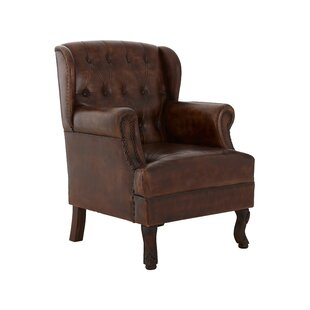 Leafwood Leather Wingback Chair By Rosalind Wheeler
