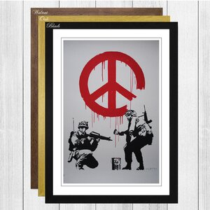 'Peace Wall Graffiti' by Banksy Framed Painting Print