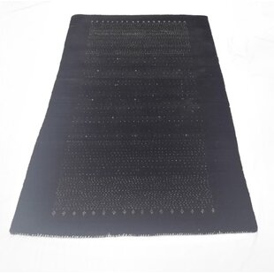 Great deal One-of-a-Kind Daleyza Gabbeh Hand-Knotted 3' x 5'4 Wool Black Area Rug By Isabelline