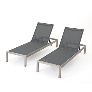lacon modern outdoor mesh chaise lounge set of 2