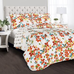 Weigle Flower 100% Cotton 3 Piece Reversible Quilt Set