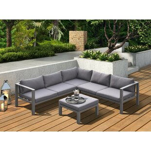 Latitude Run Hornback Outdoor 4 Piece Sectional Seating Group