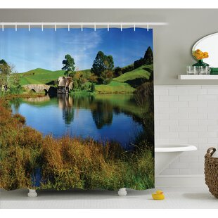 Top Hobbits Hobbit Land Village House By Lake With Stone Bridge Farmhouse Cottage New Zealand Shower Curtain ByAmbesonne