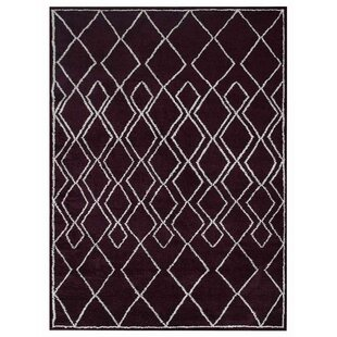 Zaliki Hand-Knotted Plum/White Area Rug By Wrought Studio