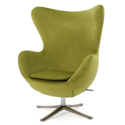 Brayden Studio Fleischman Swivel Balloon Chair Upholstery: Green