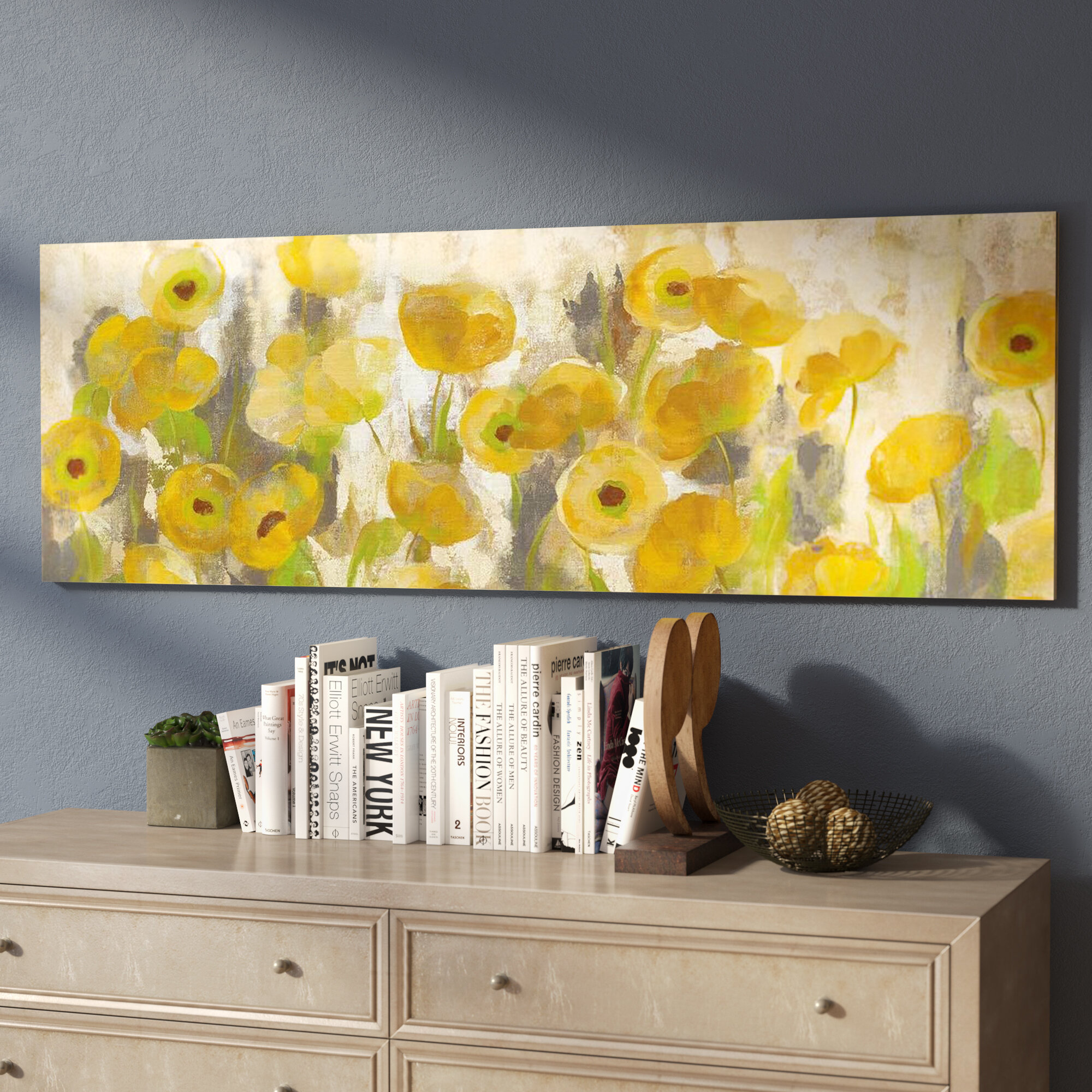 East Urban Home \'Floating Yellow Flowers I\' Painting Print on Canvas ...