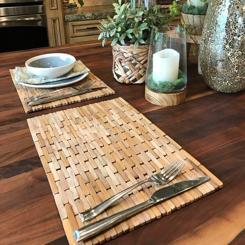 hip o modern living recycled teak placemats set reviews wayfair