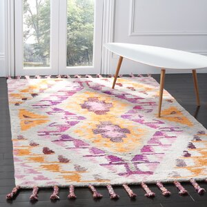 Lockheart Hand-Tufted Orange/Purple Area Rug