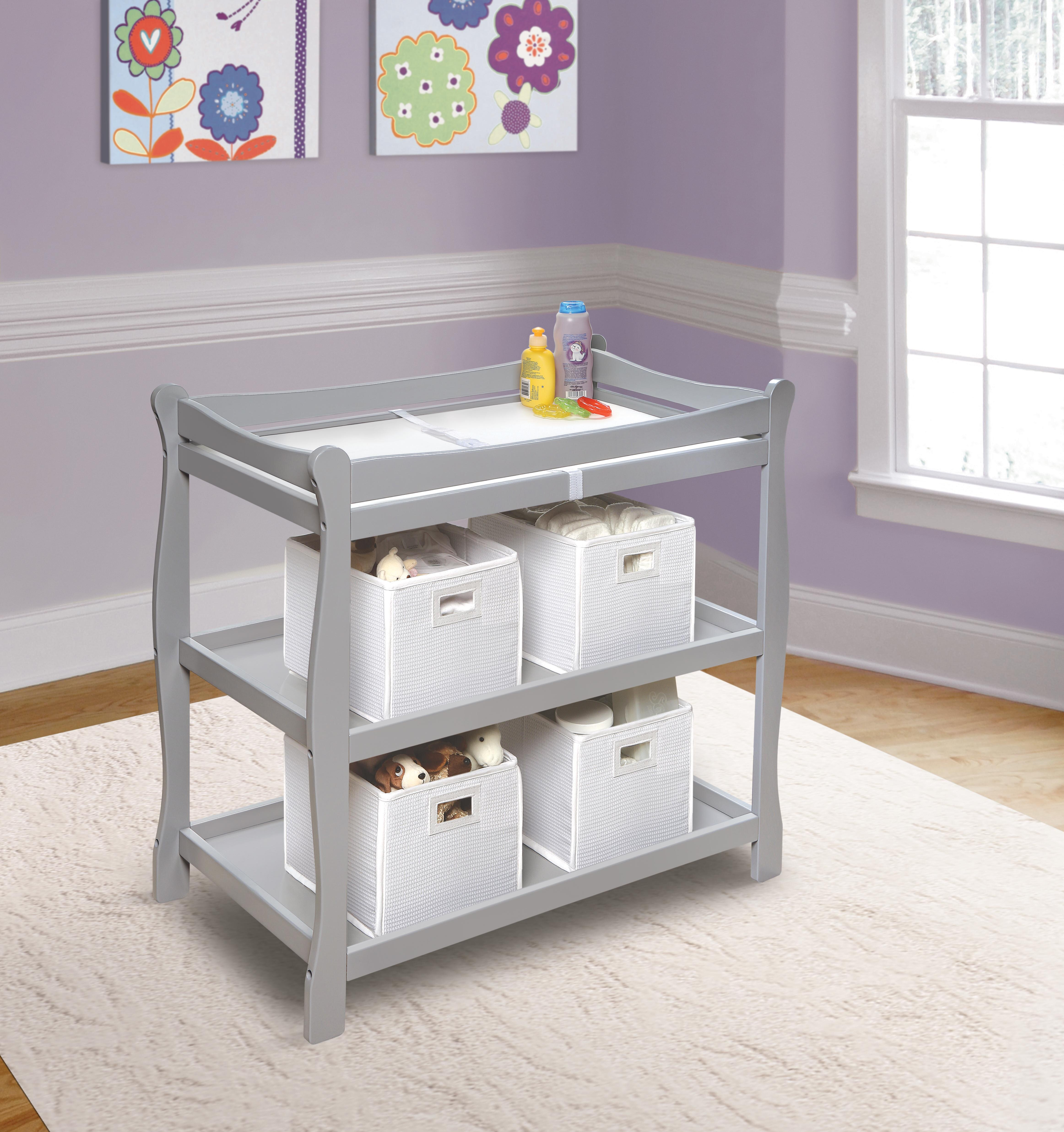 9406522a717c Badger Basket Sleigh Style Baby Changing Table with Pad & Reviews | Wayfair