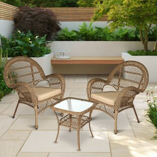 Conkling Resin Wicker 3 Piece Rattan 2 Person Seating Group with Cushions