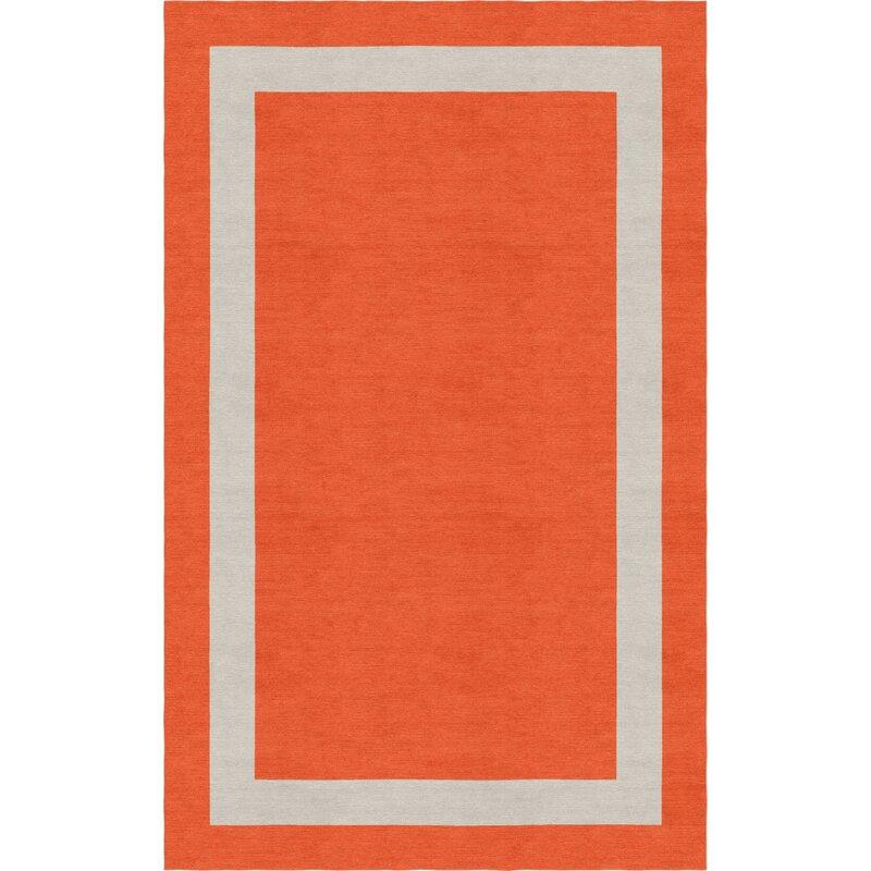 Red Barrel Studio Mammen Border Hand Tufted Wool Dark Orange Silver Area Rug Wayfair