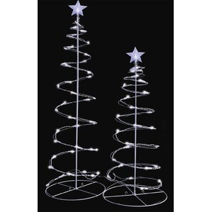 led lighted spiral christmas trees yard decoration set of 2 - Spiral Lighted Christmas Tree