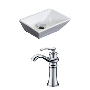 American Imaginations Emily Ceramic Rectangular Vessel Bathroom Sink with Faucet