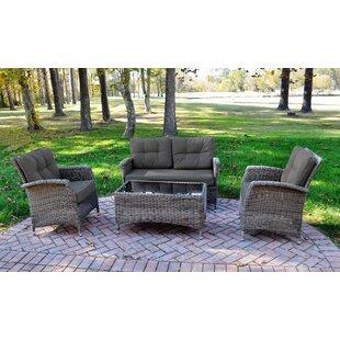 August Grove Evatt 4 Piece Rattan Sunbrella Sofa Set with Cushions